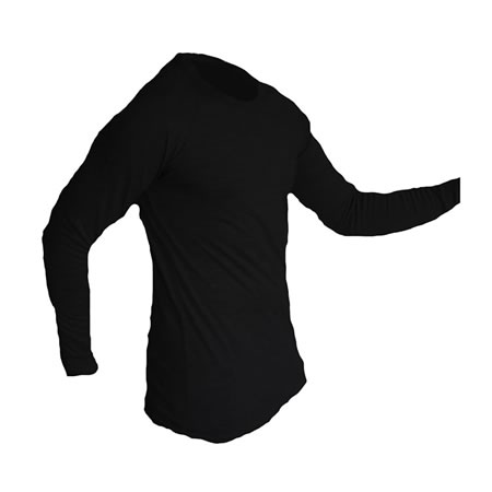 Black Polypro Thermals Long Sleeve Top