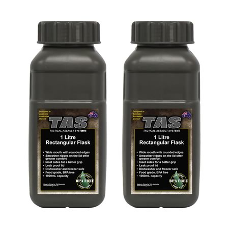1 Litre Military Flask Olive - 2 pack
