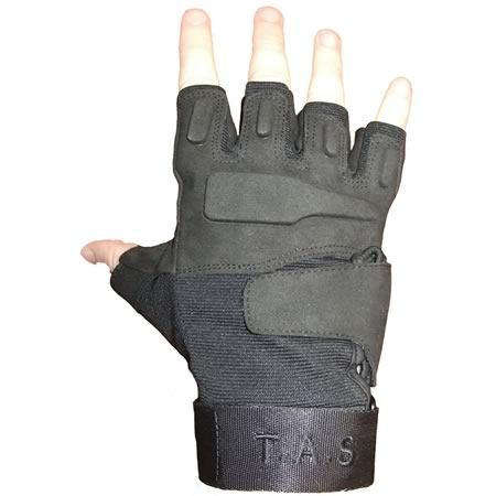 TAS Black Fingerless Tactical Gloves